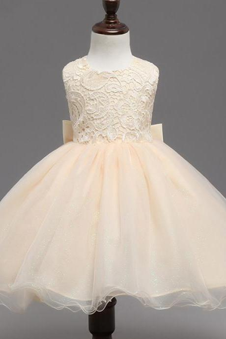 Champagne Ball Gown Flower Girl Dresses Lace First Communion Dress