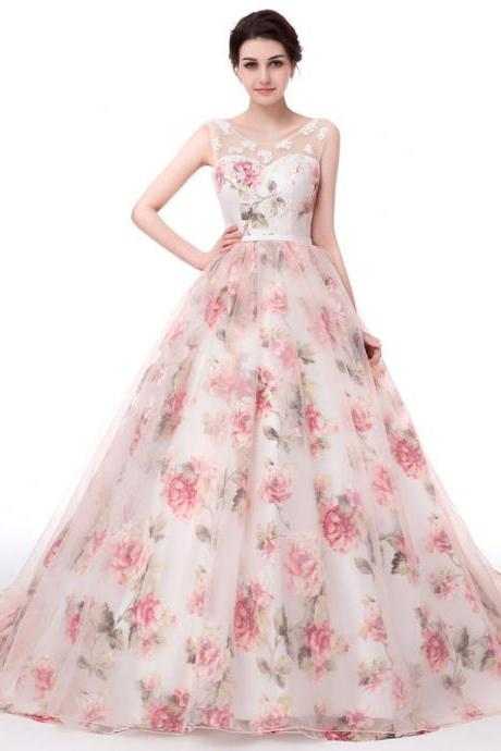 Sweet Organza Print Flowers Prom Dresses Long Party Dress Ball Gown