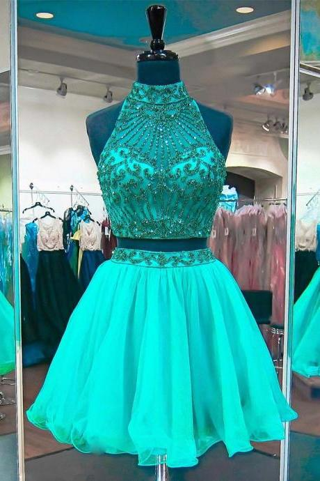 Two Pieces Green Beading Homecoming Dresses High Neck Short Tulle Party Dress Backless