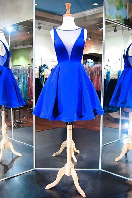 Royal Blue Plunge V Sleeveless Knee Length Skater Dress, Formal Dress, Homecoming Dress