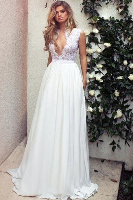 Sexy Plunging V Sleeveless Chiffon A-line Wedding Dress Featuring Keyhole Back