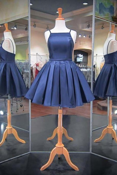 Navy Blue Satin Halter Short Pleated Homecoming Dress, Formal Dress
