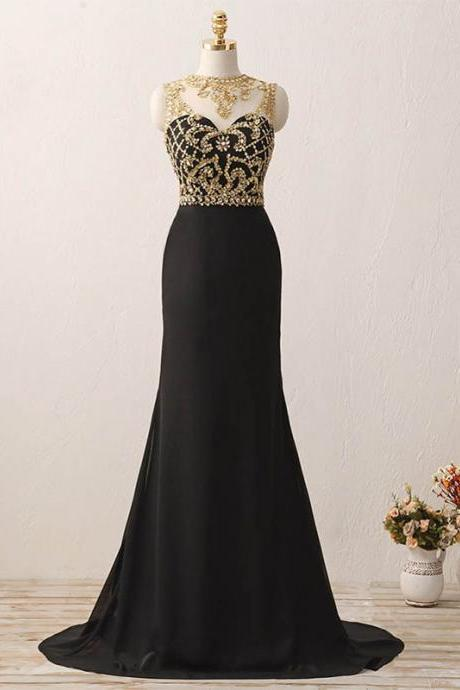 Black Chiffon Long Prom Dresses Gold Crystals Evening Gown