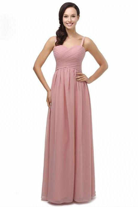 Dusky Pink Long Chiffon Bridesmaids Dresses Spaghetti Wedding Party Dress
