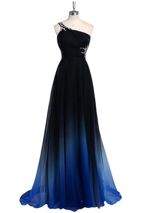 One Shoulder Gradual Chiffon Long Prom Dresses Fashion Party Dress