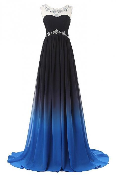 Gradual Chiffon Long Beaded Prom Dresses Fashion Party Dress