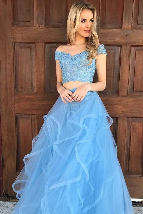 Light Blue Two Piece Long Prom Dresses Party Evening Gown