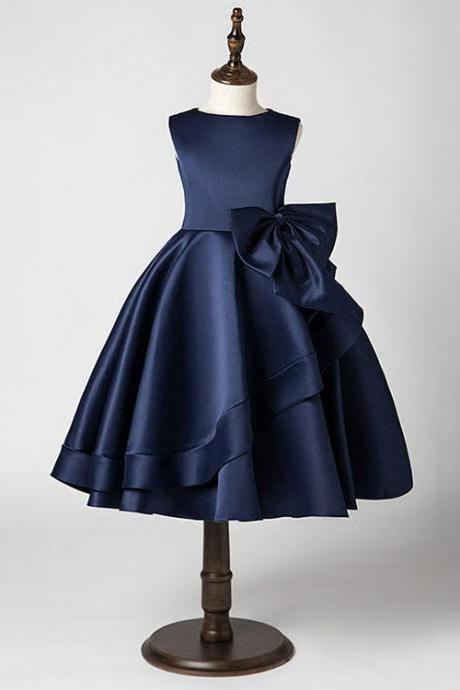 Cute Navy Blue Satin Ball Gown Flowers Girl Dresses