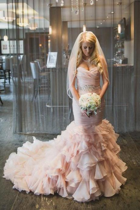 2018 Blush Pink Sweetheart Mermaid Wedding Dress Ruffles Bridal Gown Dresses Organza Lace up Wedding Gowns