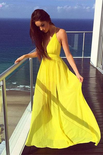 Yellow Chiffon Prom Dresses Party Evening Gown Long Dress