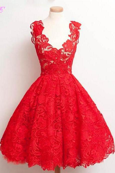 Red Prom Dresses,Prom Dress,Lace Dresses