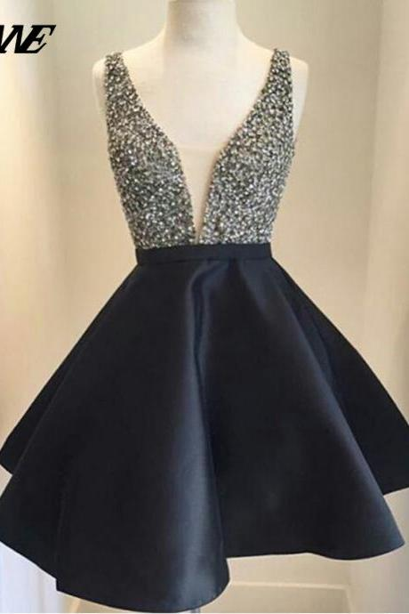 Black Short Prom Dresses,Beaded Prom Dresses,Party Dress,Homecoming Dresses