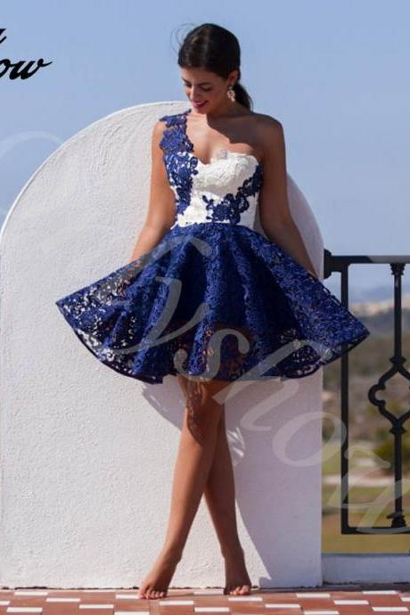 Lace Dresses,One Shoulder Dresses,Short Mini Dresses,Homecoming Dresses,Party Dress
