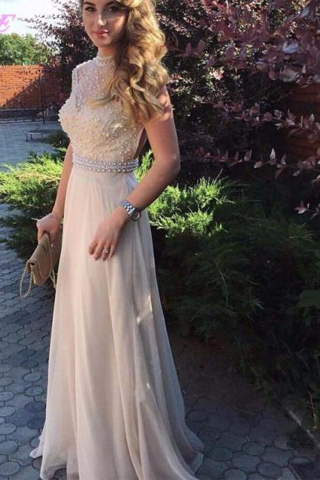 2017 Prom Dresses,Prom Dress,Champagne Prom Dress,Prom Gown,Long Party Dress,Chiffon Dresses,Women Dresses,Evening Gown