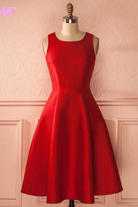 Prom Dresses,Red Dresses,Short Party Dresses,Satin Dress,Tea Length Dress