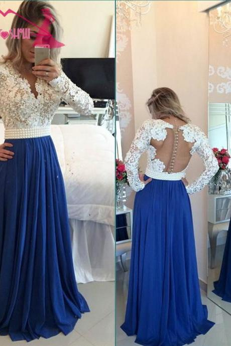 Royal Blue Prom Dresses,Prom Gown,Long Prom Dress,Full Sleeve Prom Dress,Lace Dresses,Chiffon Dresses,Long Party Dresses