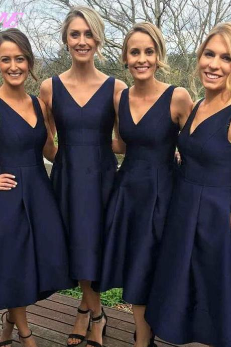 Navy Blue Prom Dresses,High Low Prom Dress,Party Dress,Satin Dress,V-Neck Prom Dress