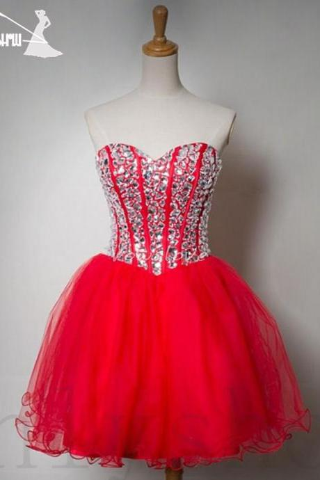 Red Homecoming Dresses,Short Party Dress,Sweetheart Dresses,Ball Gown,Sexy Dresses,Short Mini Dresses,Lace up Dress,Graduation Dresses