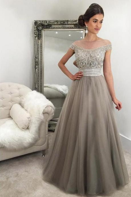 Off the Shoulder Prom Dresses,Prom Dress,Sexy Prom Dresses,Gray Prom Dresses,Beading Prom Dresses,Prom Gown
