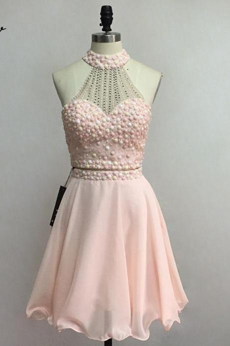 Beaded Embellished Two-Piece Short Homecoming Dress Featuring High Halter Crop Top and Short Chiffon Skirt, Formal Dress