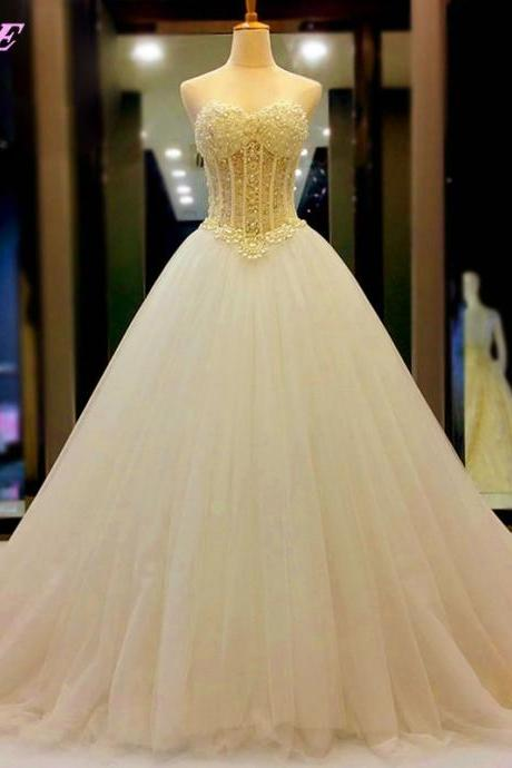 Luxury Wedding Dresses,White Wedding Dress,Sweetheart Wedding Dress,Bridal Dresses,Bridal Gowns,Rhinestones Wedding Dress,Lace-up Wedding Dress,Pearls Wedding Dress