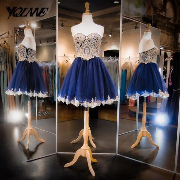 Navy Blue Homecoming Party Dresses,Short Dress